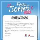 COMUNICADO -  Cancelamento festa do sorvete